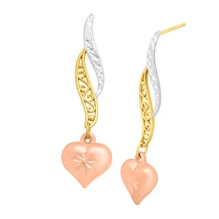 Just Gold Heart Scroll Drop Earrings in 10K Gold - tri-color