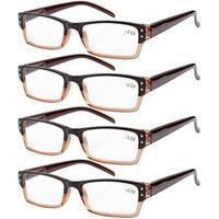 Eyekepper 4-pack Spring Hinges Rectangular Reading Glasses Brown +1.00
