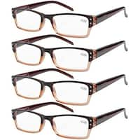 Eyekepper 4-pack Spring Hinges Rectangular Reading Glasses Brown +2.50