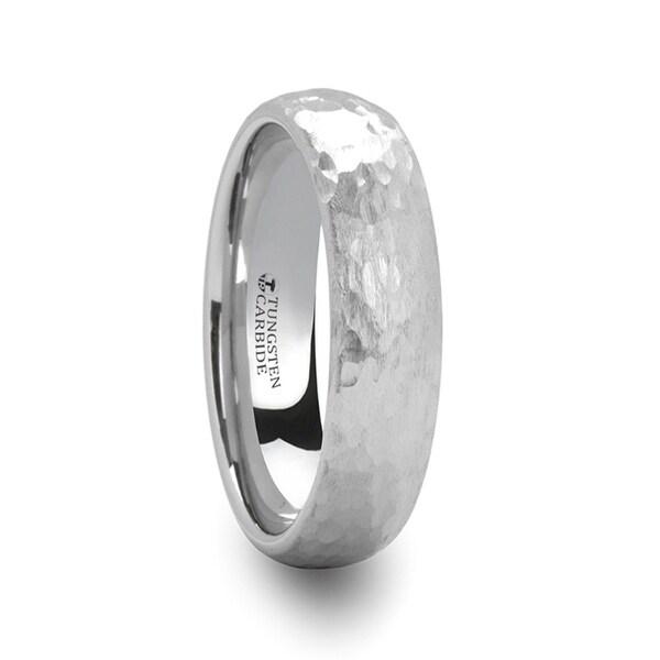 THORSTEN - CHANDLER Domed Hammered Finish White Tungsten Ring - 6mm