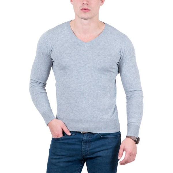 Real Cashmere Light Grey V-Neck Fine Cashmere Blend Mens Sweater