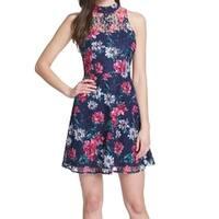 Kensie Blue Women's Size 6 Floral Lace Halter Sheath Dress