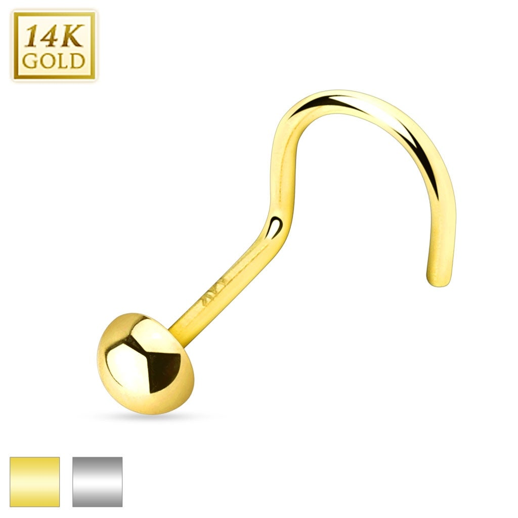 Shop Flat Bottom Dome Top 14k Gold Nose Screw Sold Individually
