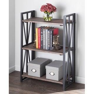 Carbon Loft Indy 3-Shelf Bookcase in Black Metal & Wood
