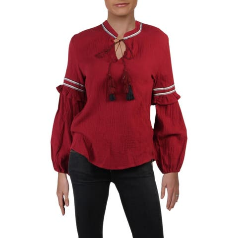 4Our Dreamers Womens Peasant Top Textured Ruffled - Wine - XS
