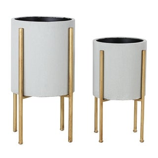 Aspire Home Accents 5742  Nabila Set of 2 Circular Metal Planters with Gold Base