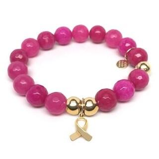 Julieta Jewelry Ribbon Charm Fuchsia Quartz Bracelet
