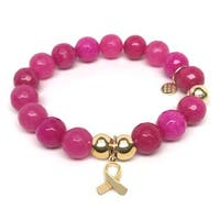 Julieta Jewelry Awareness Ribbon Charm Fuchsia Quartz Bracelet