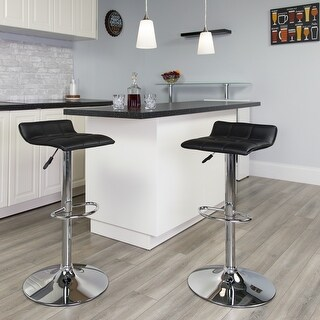 Porch & Den Cary Contemporary Vinyl Adjustable Swivel Bar Stool