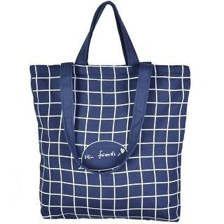 Household Canvas Plaid Pattern Zipper Closure Shopping Pouch tote Bag Dark Blue