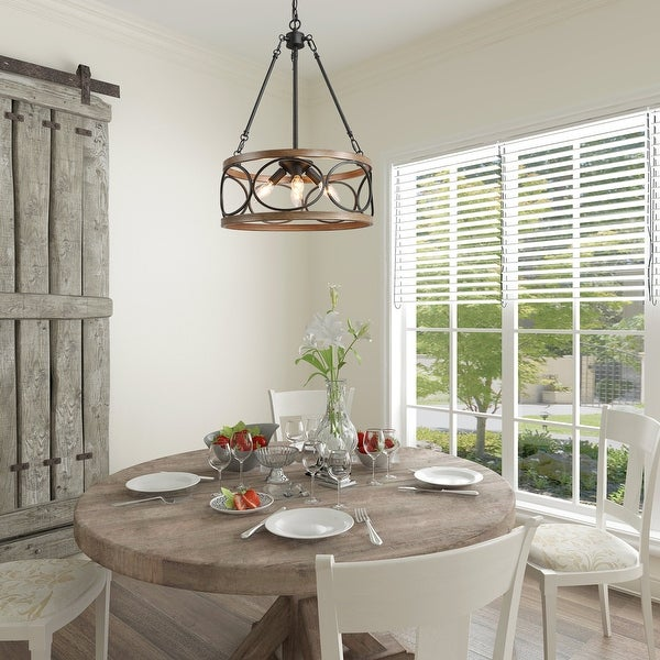 Farmhouse 4-lights/3-lights Hollow Drum Chandelier with Distressed Finish. Opens flyout.