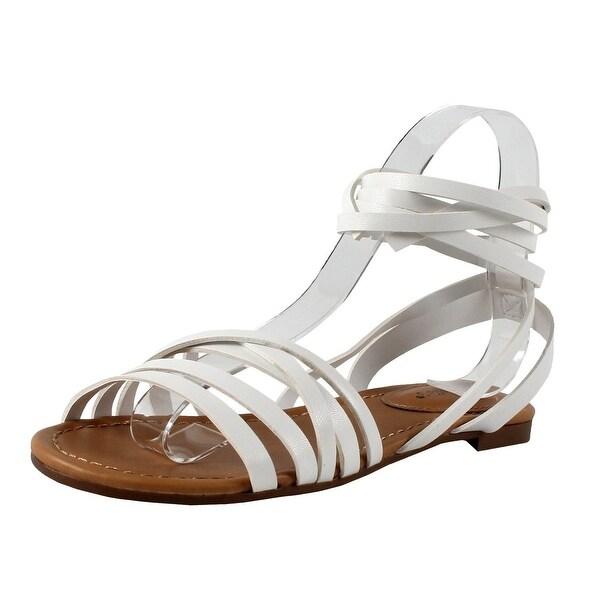 01620d9777 Breckelles EA54 Women Leatherette Open Toe Strappy Slingback Wrap Sandal