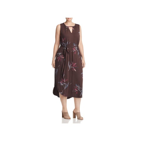 Lucky Brand Womens Plus Midi Dress Floral Print Keyhole