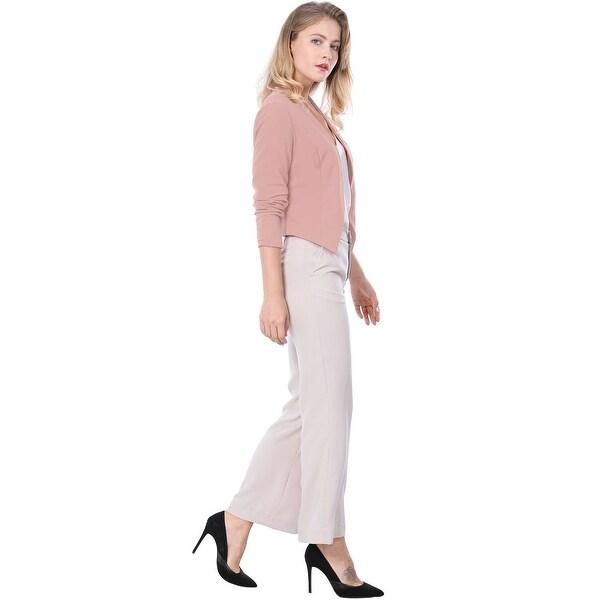 Allegra K Women Collarless Work Office Business Cropped Blazer Pink XS