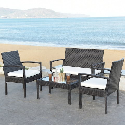 Gymax 4 PC Rattan Patio Furniture Set Garden Lawn Sofa Cushioned Seat
