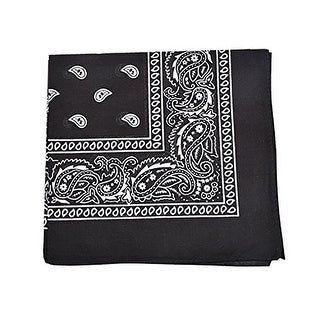 Qraftsy 100% Cotton Versatile High Quality Bandana - Paisley and Solid Colors Available - 12 Pack - One Size Fits Most
