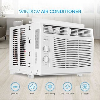 DELLA 5000 BTUs Window Mounted Air Conditioner Easy Dial AC Washable Filter Indoor 115V Dual Speed Fan 150 SQ Feet White