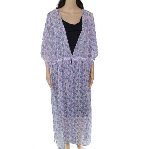 Vince Camuto Women's Sweater Purple Size 2X Plus Floor Length Cardigan