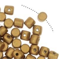 Czech Glass Minos par Puca, Cylindrical Beads 2.5x3mm, 120 Pieces, Matte Light Gold