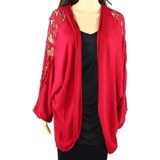 Soprano NEW Red Size Large L Junior Crochet Trim Cardigan Sweater