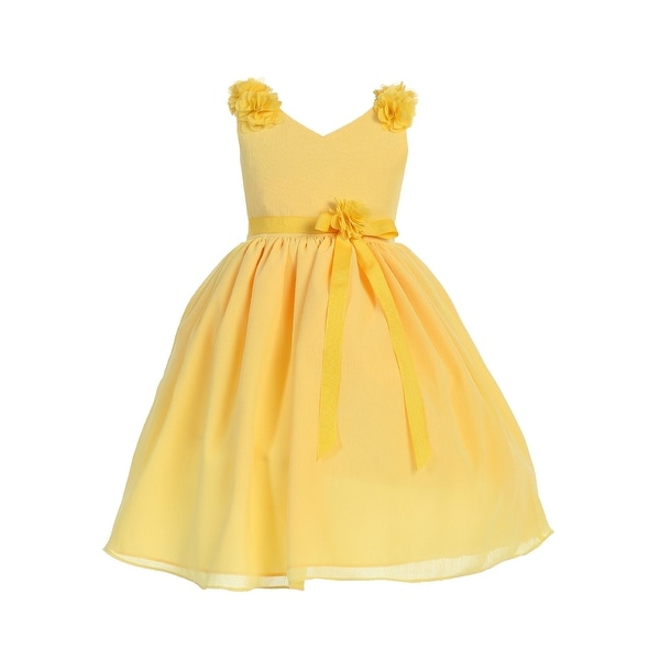 b3f3aa4c2e Girls Yellow V Neck Floral Applique Chiffon Junior Bridesmaid Dress