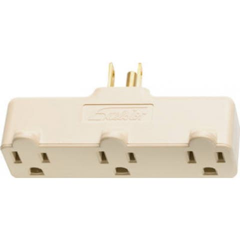 Pass & Seymour 697RI Heavy Duty Plug In Triple Outlet Adapter, 15A, 125V, Ivory