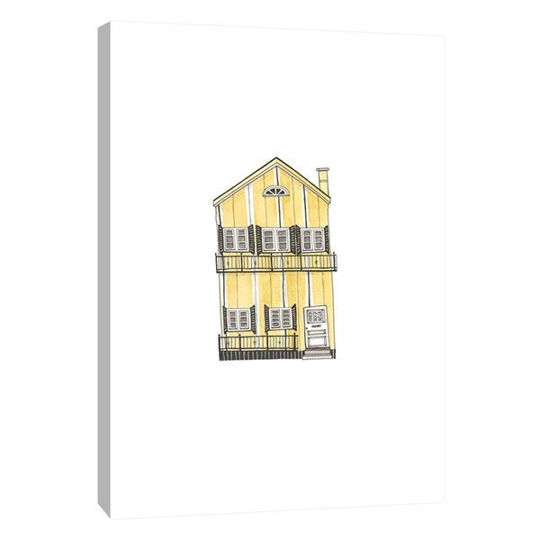 """PTM Images 9-105584 PTM Canvas Collection 10"""" x 8"""" - """"Little Striped Houses Yellow"""" Giclee Houses Art Print on Canvas"""