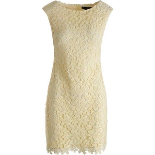 Lauren Ralph Lauren Womens Petites Lace Cap Sleeve Cocktail Dress