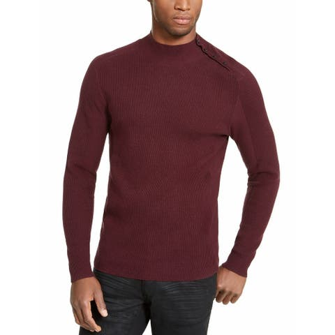 INC International Concepts Men's Ribbed Button Neck Sweater Purple Size X-Large