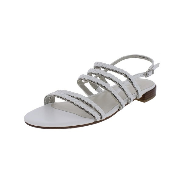 Stuart Weitzman Womens Linedrive Flat Sandals Casual Chain Trim