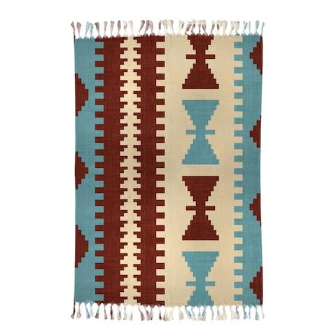 MEDITERRANEAN MULTI Beach Blanket with Tassels By Becky Bailey - 38 x 80