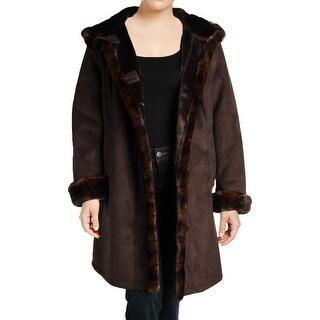 Gallery Womens Plus Faux Fur Coat Fall Faux Fur