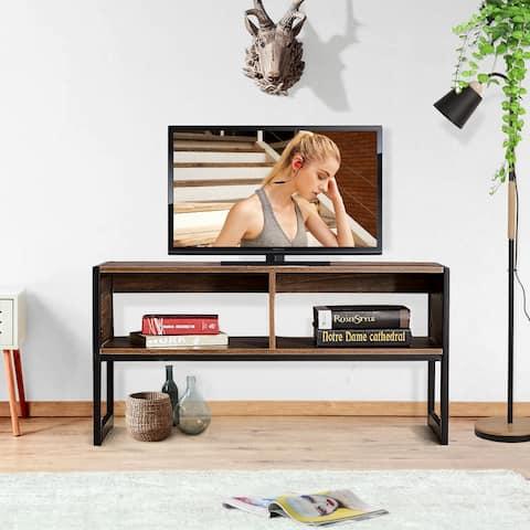 VECELO Loft 2-Tier Industrial Medium Oak TV Stand - 39.4''Lx15.7''Wx19.7''H