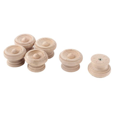 "Uxcell Home Furniture Wooden Round Carved Drawer Handle Grip Pull Knob 40mm Dia 6pcs - 38 x 26mm/1.5"" x 1""(D*H)"