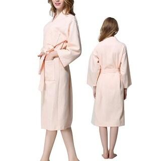 Lady Cotton Waffle Kimono Bathrobe Belted Spa Robe Knee-length Sleepwear Pink L