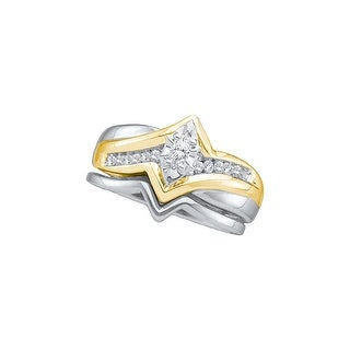1/5Ctw Diamond Ladies Bridal Engagement Ring With 1/12Ct Marquise Center 14K White-Gold