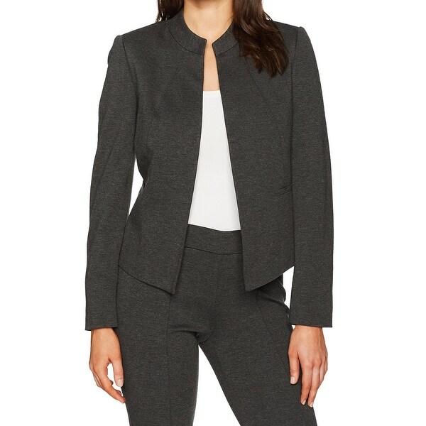 Kasper Charcoal Gray Women's Size 10 Ponte Flyaway Knit Jacket