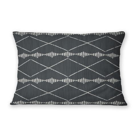 RIGGING CHARCOAL Indoor Outdoor Lumbar Pillow By Kavka Designs