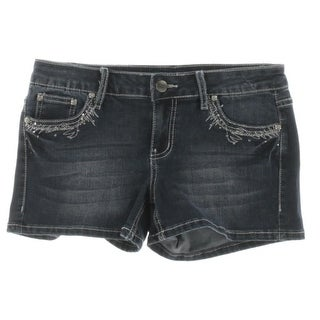 Project Indigo Womens Juniors Denim Shorts Embellished Dark Wash - 9