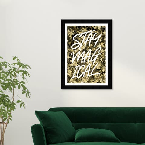 Wynwood Studio 'Stay Magical' Typography and Quotes Gold Wall Art Framed Print