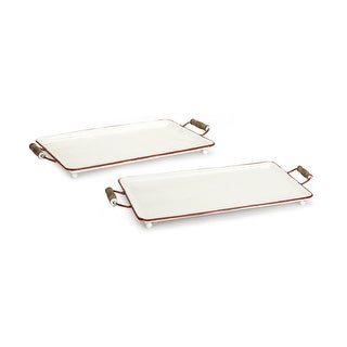 Set of 4 White and Brown Decorative Rectangular Trays with Handles 23""