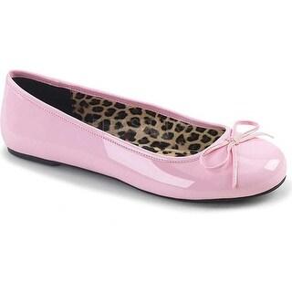 Pleaser Pink Label Women's Anna 01 Ballet Flat Baby Pink Patent