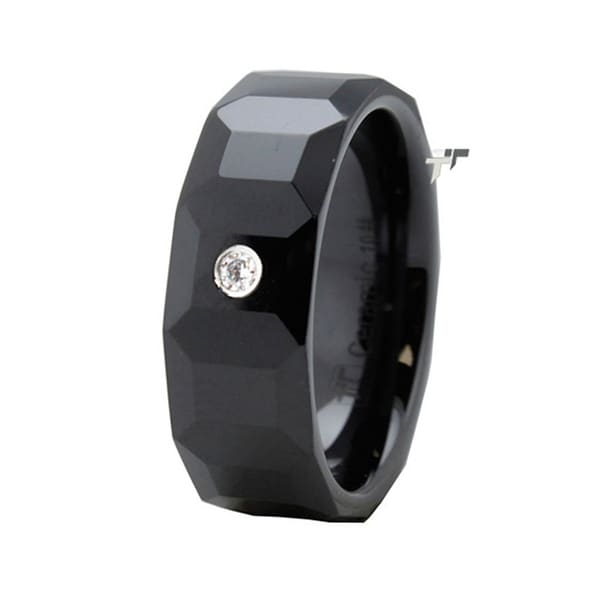 Black Multi-Faceted Ceramic Ring w/ CZ