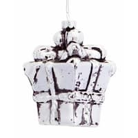 Club Pack of 12 Elegant Silver Glass Wrapped Gift Box Christmas Ornaments 4.5""