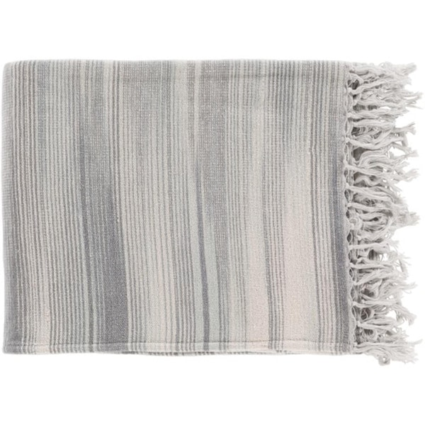 "Ivory White, Moon and Smoke Gray Stripped Cotton Fringed throw Blanket 50"" x 60"""