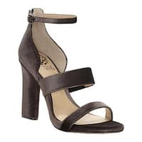 Vince Camuto Women's Robeka Ankle Strap Sandal Winter Brown/Titanium Velvet Smooth/Met Nappa PU