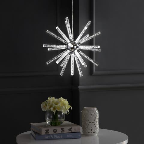 "Soyuz 19.5"" Adjustable Integrated LED Starburst Metal/Acrylic Pendant, Chrome/Clear by JONATHAN Y"