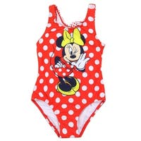 Disney Little Girls Red White Polka Dot Minnie Mouse One Piece Swimsuit