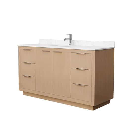 Maroni 60-Inch Light Straw Single Vanity, Cultured Marble Top