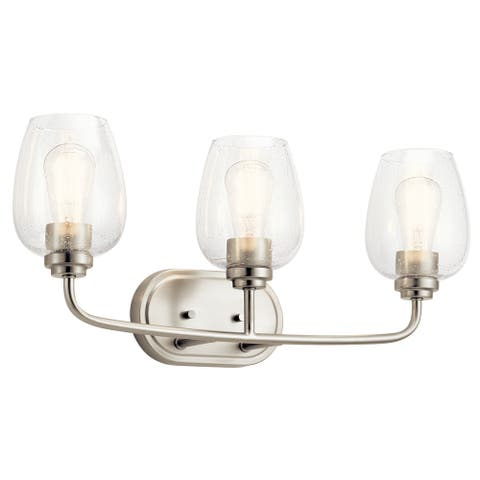 Kichler Valserrano 24 inch 3 Light Vanity Light with Clear Seeded Glass in Brushed Nickel